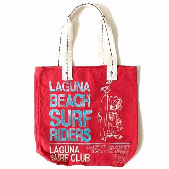 Hollister Laguna beach surf riders red tote bag